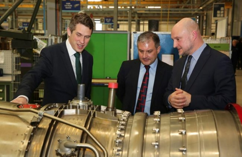 Secretary of State for Defence,Gavin Williamson at a visit to Rolls Royce