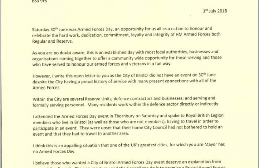 Open letter to the Mayor of Bristol, Marvin Rees