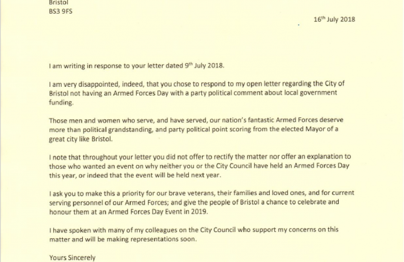 2nd letter to the elected Mayor of Bristol, re Armed Forces Day