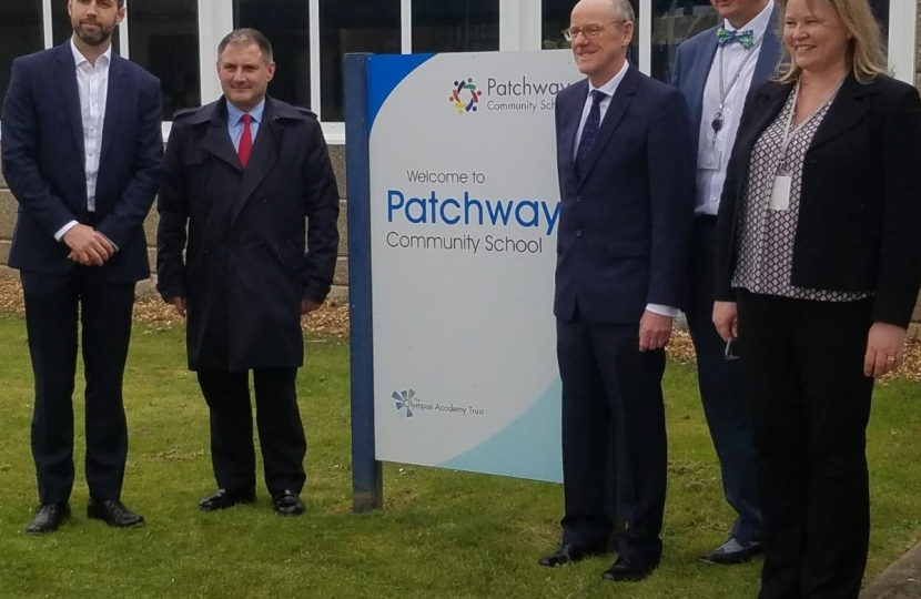 Jack Lopresti MP at Patchway School with Schools Minister