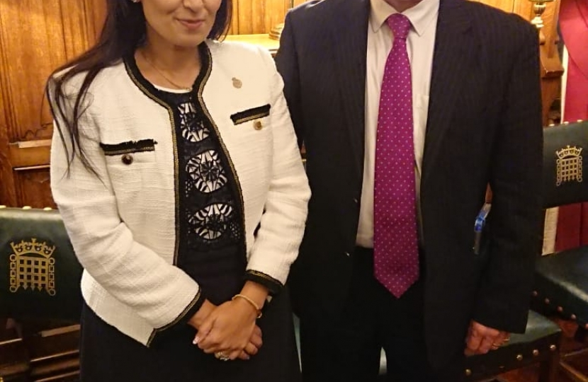 Jack Lopresti MP with the Home Secretary, Priti Patel MP