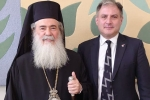 Meeting The Patriarch of Jerusalem for a briefing on 'Christianity in the Holy Land'